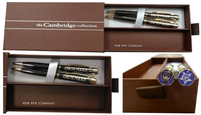 Amesbury Pens with Photo Dome. Gun Metal Gray with Gold accents, laser engraved barrel, full-color photo dome tips, in deluxe gift box.
